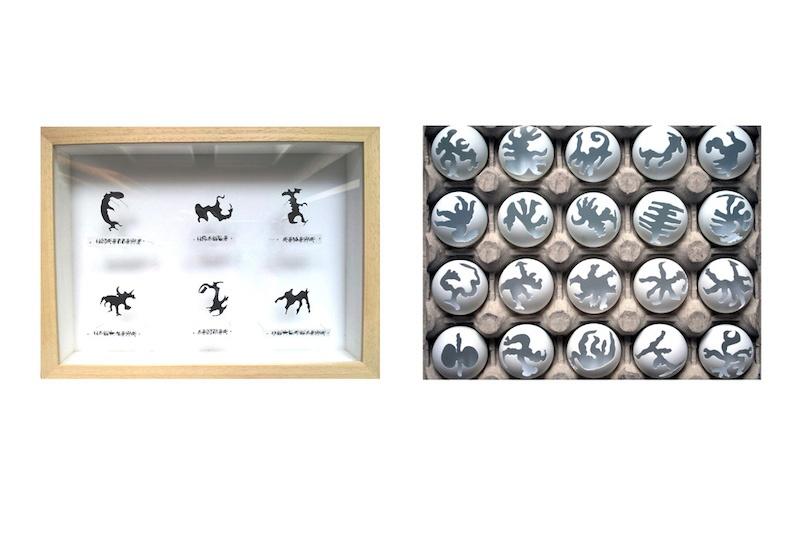 Nathalie Borowski, Ping-pong de l'ADN – Découpes manuelles de balles de ping-pong / écriture cellulaire - Boîte entomologique 19x26cm – Balles découpées/boîte œufs