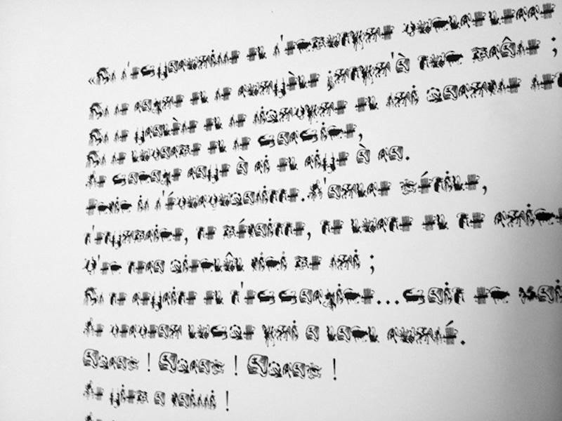 """Nathalie Borowski, Le grand combat  – Création d'une écriture et report en lithographie sur papier BFK Rives 56x76cm d'après """"Le grand combat"""" d'Henri Michaux (Tirage à 5  ex.)"""
