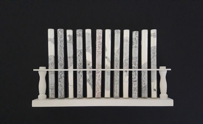 Nathalie Borowski, Etudes – Dessins / Tubes à essai en verre – Support en bois – Dimensions variables