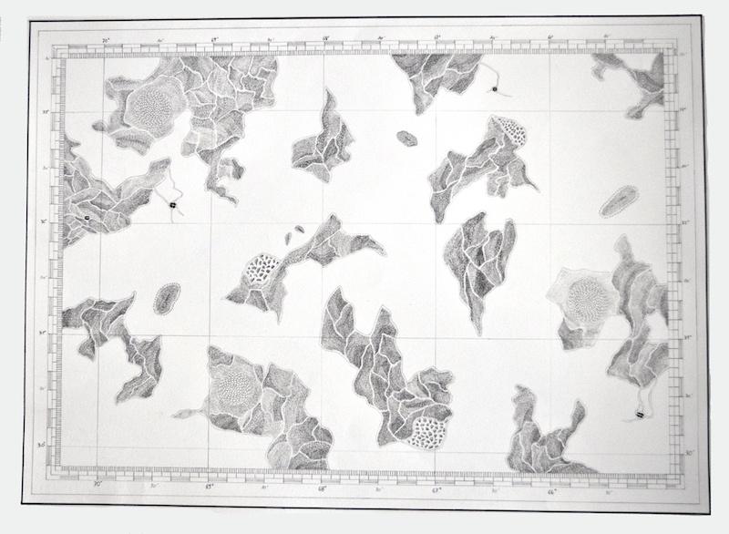 Nathalie Borowski, Les grands fonds #3 – Dessin d'après coordonnées sous-marines sur papier BFK Rives – 56x76 cm