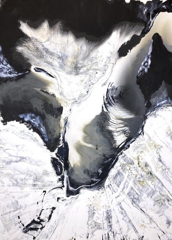 Silvère Jarrosson, Huitième composition, 2020. Technique mixte sur toile de lin et polyester 130x180 cm
