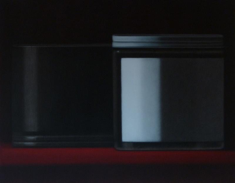 Anne-Claire Schmit, Composition aux deux objets, monotype et huile sur toile, 80 x 100 cm, 2013