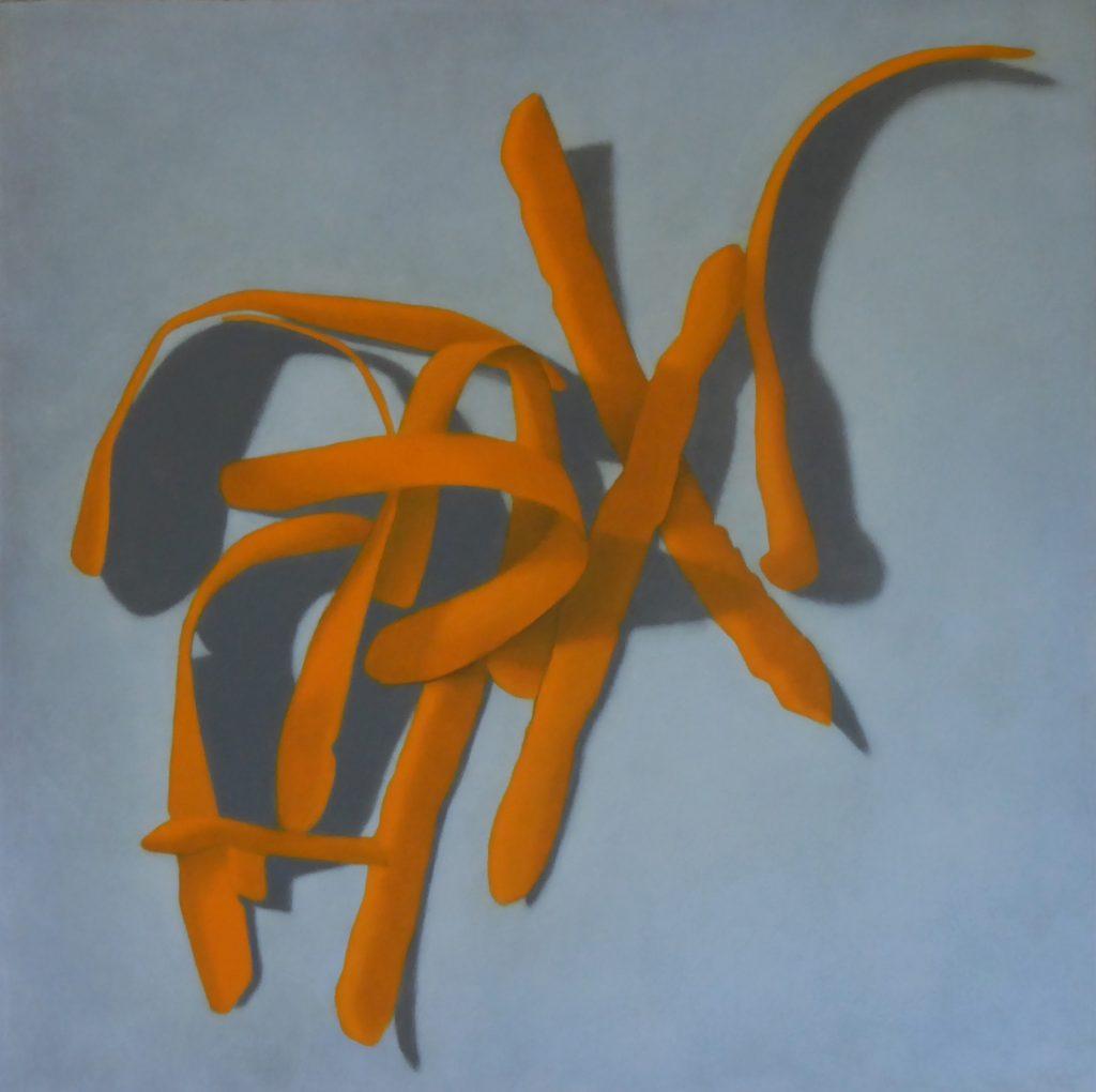 Anne-Claire Schmit, Épluchures, monotype et huile sur toile, 70 x 70 cm, 2020