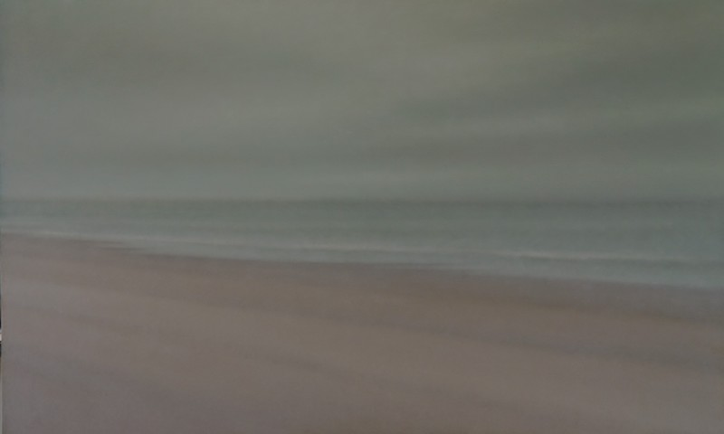 Anne-Claire Schmit, La plage, monotype et huile sur toile, 55 x 90 cm, 2019