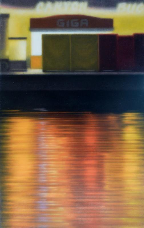 Anne-Claire Schmit, Fête foraine I, monotype et huile sur toile, 110 x 70 cm, 2013