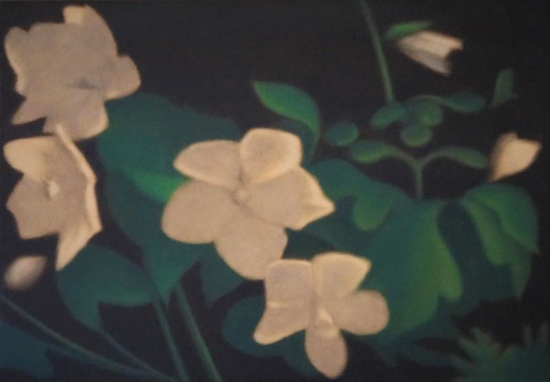 Anne-Claire Schmit, Hellébores, monotype et huile sur toile, 35 x 50 cm, 2018