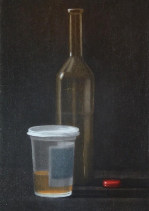 Anne-Claire Schmit, Le point rouge, monotype et huile sur toile, 60 x 30 cm, 2011
