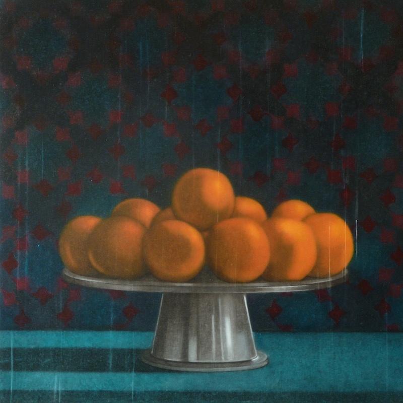 Anne-Claire Schmit, Les oranges, monotype et huile sur toile, 100 x 100 cm, 2011