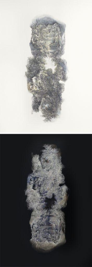 Hélène Muheim, Rémanence 13   (skin and bones ), 2018  200 x 70 cm #module de 2x(100x70cm) 100x70cm, ombres à paupières, encres, et poudre de graphite sur papier 100x70cm, épreuve numérique sur papier