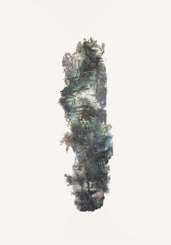 Hélène Muheim, Memory Peel (Utopia ), 2020  100 x 70 cm ombres à paupières, encres, et poudre de graphite sur papier