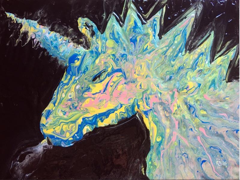 Ïan Larue, Fume, Licorne kawaï!, peinture, 2020