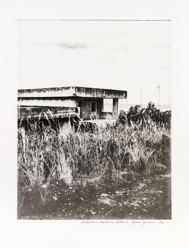 Roxane Daumas, Architectures Inachevées - Calabre 2 - 2021 Gomme bichromatée et pierre noire sur papier format papier 35 x 45,2 cm