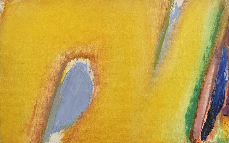 Olivier Debré, Tout jaune tache bleue, huile sur toile monogrammée, 23x36 cm, 1992