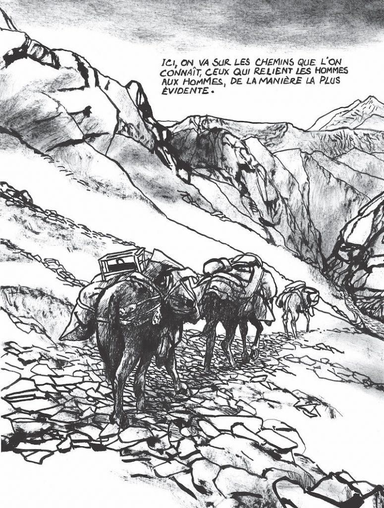 Edmond Baudoin Image extraite de La traverse, éd. L'Association, 2019, p.45. Encre de Chine sur papier, 29,4 x 21 cm. © Edmond Baudoin & L'Association