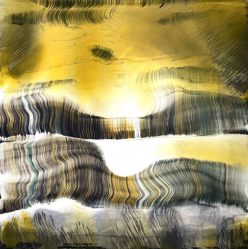 Silvère Jarrosson, Quinzième composition, technique mixte sur toile de lin, 80x80 cm, 2021