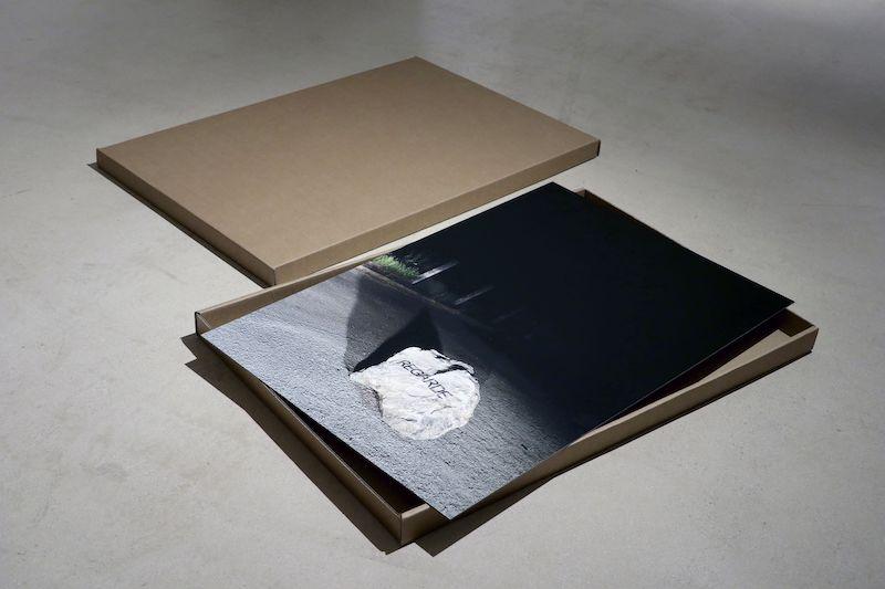 vue de l'exposition, REGARDE, Laurent Lacotte, 2021, tirage pigmentaire contrecollé sur dibon, 90 x 60 cm, boite en carton.
