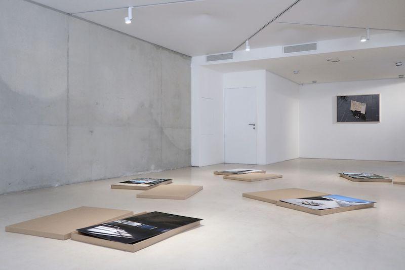 vue de l'exposition, au premier plan MANIFESTATION, Laurent Lacotte, 2021,, tirage pigmentaire contrecollé sur dibon, 90 x 60 cm, boite en carton.