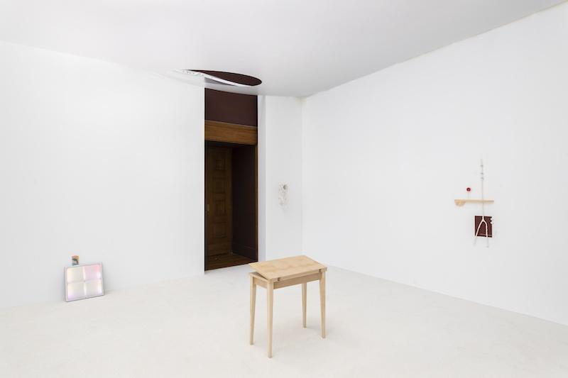 Au premier plan _ Elisa Florimond, Sobek, 2021, table IKEA, caïman empaillé, 40 x 80 x 80 cm. © Nicolas Brasseur