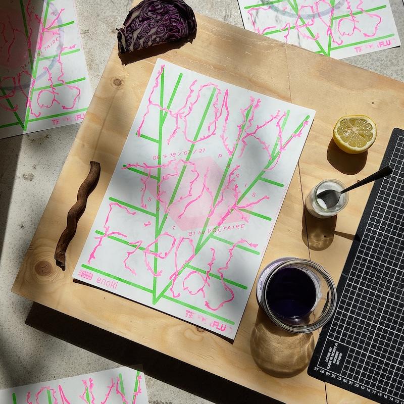 Honky-Tonk-Fields_Juliette-Gelli_Honky-Tonk-Fields_Risographie-rose-et-vert-fluo-encre-de-chou-bicarbonate-jus-de-citron-sur papier_2021_credit-photo-TENDERFLUID
