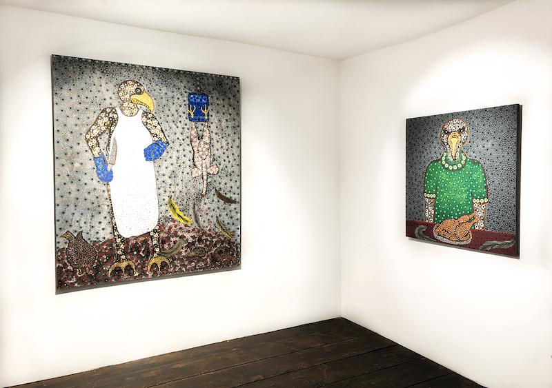 Vue d'exposition Figures of power, une exposition conjointe de John Madu et Ousmane Niang Jusqu'au 14 août 2021, Galerie Afikaris Paris