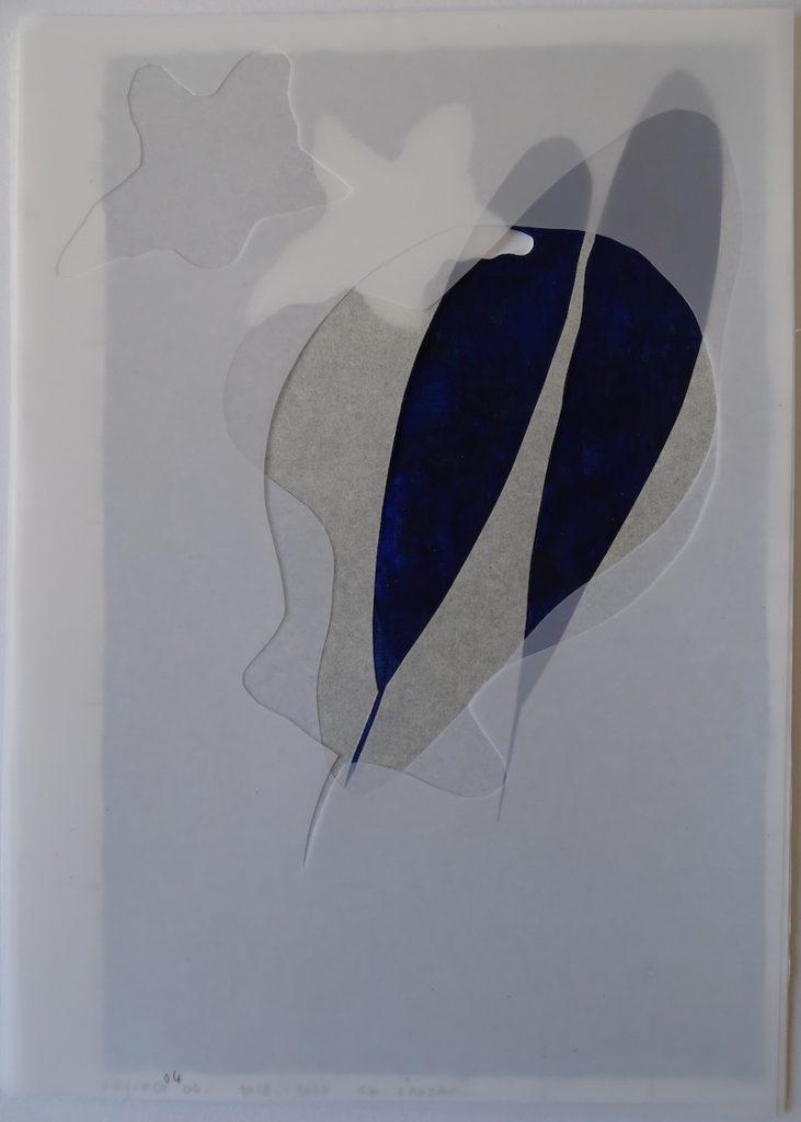 Christine Crozat, Paysage bleu, 2018/2020 Technique mixte sur papier 37 x 28,5 cm Photo  Christine Crozat