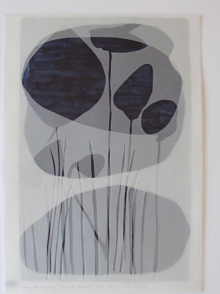 Christine Crozat, Paysage gris de Payne, 2019 Technique mixte sur papier 37 x 28,5 cm Photo Christine Crozat