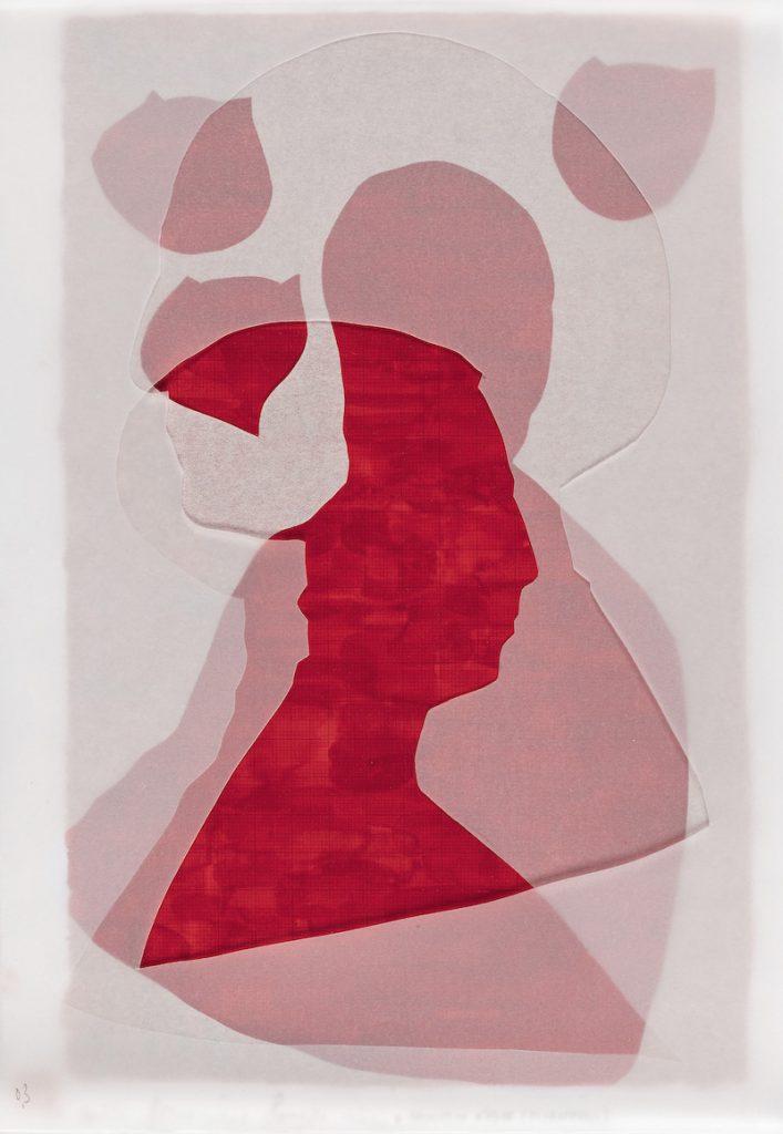 Christine Crozat, Portrait - Paysage 03 Hommage à Piero della Francesca, Pisanello et Leonardo da Vinci Technique mixte sur papier 37 x 28,5cm Photo Jean-Louis Losi