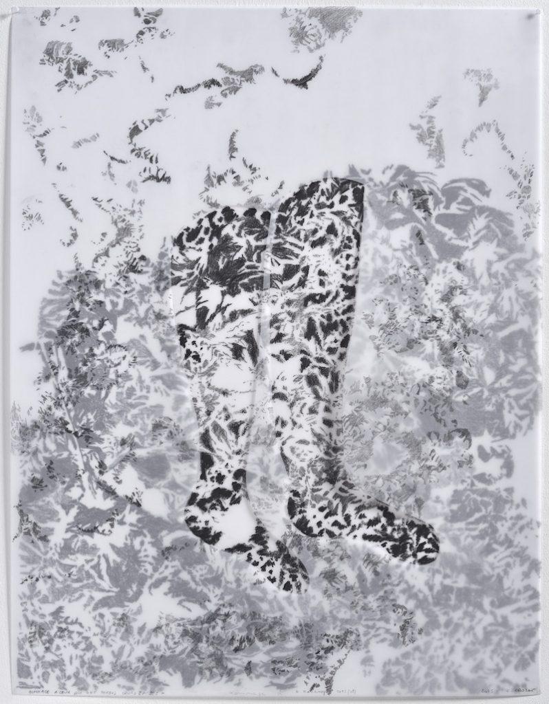 Christine Crozat, Hommage à ceux qui ont perdu leurs jambes 01, 2015 Technique mixte sur papier calque 77 x 62 cm Photo Jean-Louis Losi