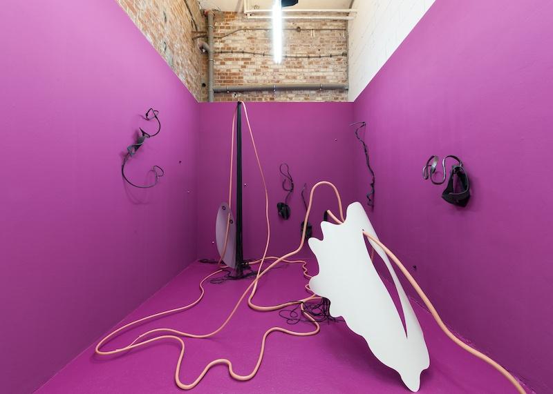 Vue exposition Tout feu tout flamme de Gwendoline Perrigueux, SHE BAM! Galerie Lætitia Gorsy, Leipzig Crédit Photos: Jamal Cazare