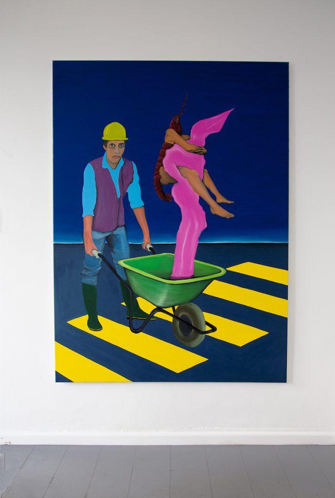 Diego Wery, Le porteur de brouette, huile sur toile, 130x180 cm, 2021