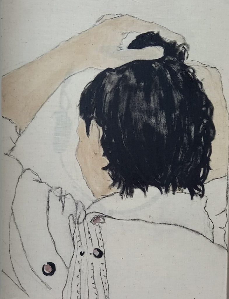 Juliette Lemontey, Le chignon, 2021. Huile, fusain, brou de noix et collages sur toile. Photo de Juliette Lemontey