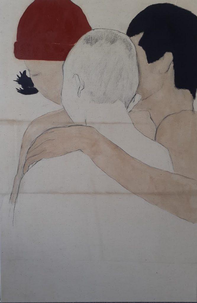 Juliette Lemontey, Les trois âges, 2021. Huile, fusain et brou de noix sur toile, 120x81 cm. Photo de Juliette Lemontey