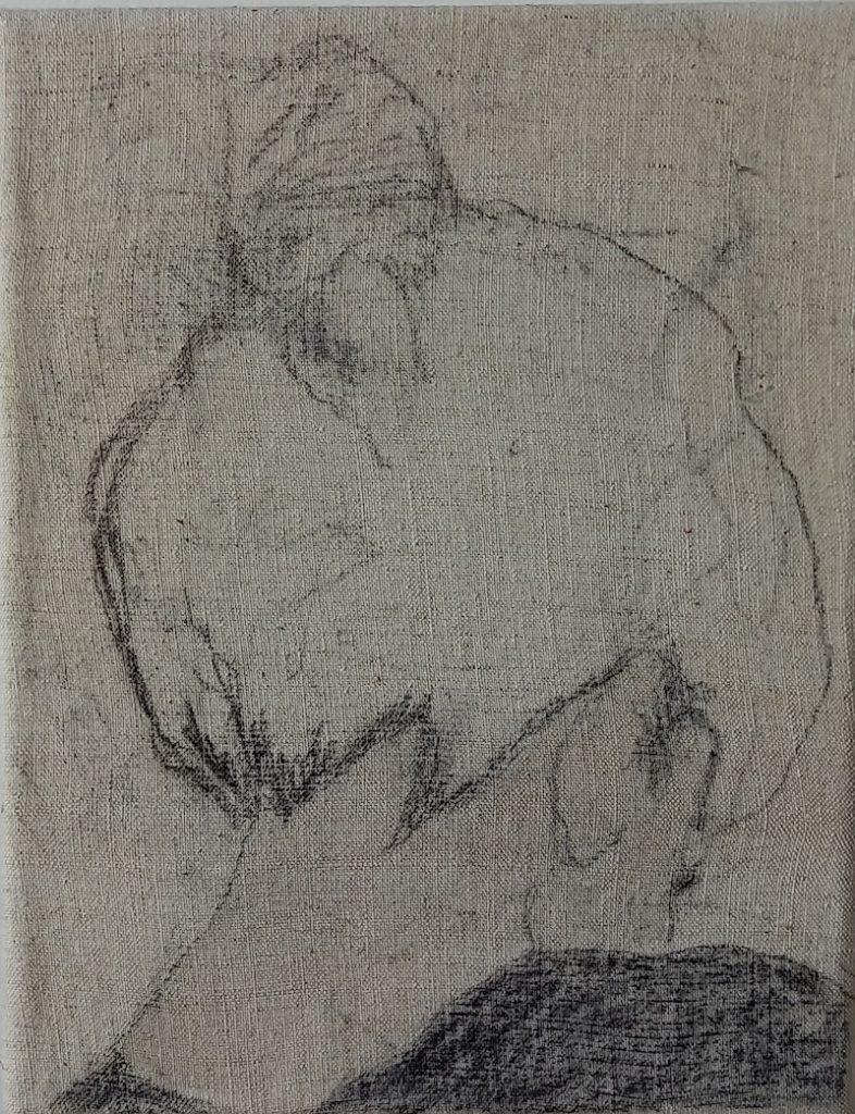 Juliette Lemontey, Petit chignon, 2021. Fusain et brou de noix sur toile, 24x19 cm. Photo de Juliette Lemontey
