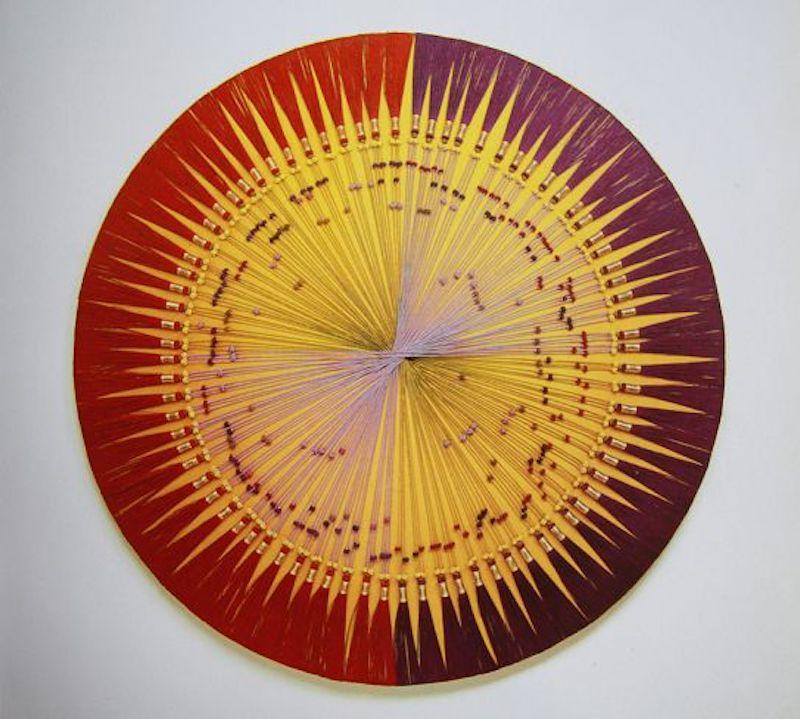 Sanglan Kim, Danse des cordes1991 Tissu, fil, tissage maedup - collage - dia.120cm
