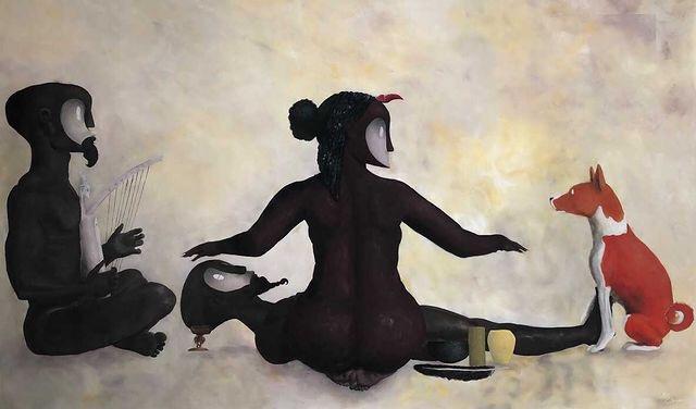 Charles Bourdette, Stèle sacrée de la forêt des abeilles, 2021 135x225 cm Acrylique sur toile