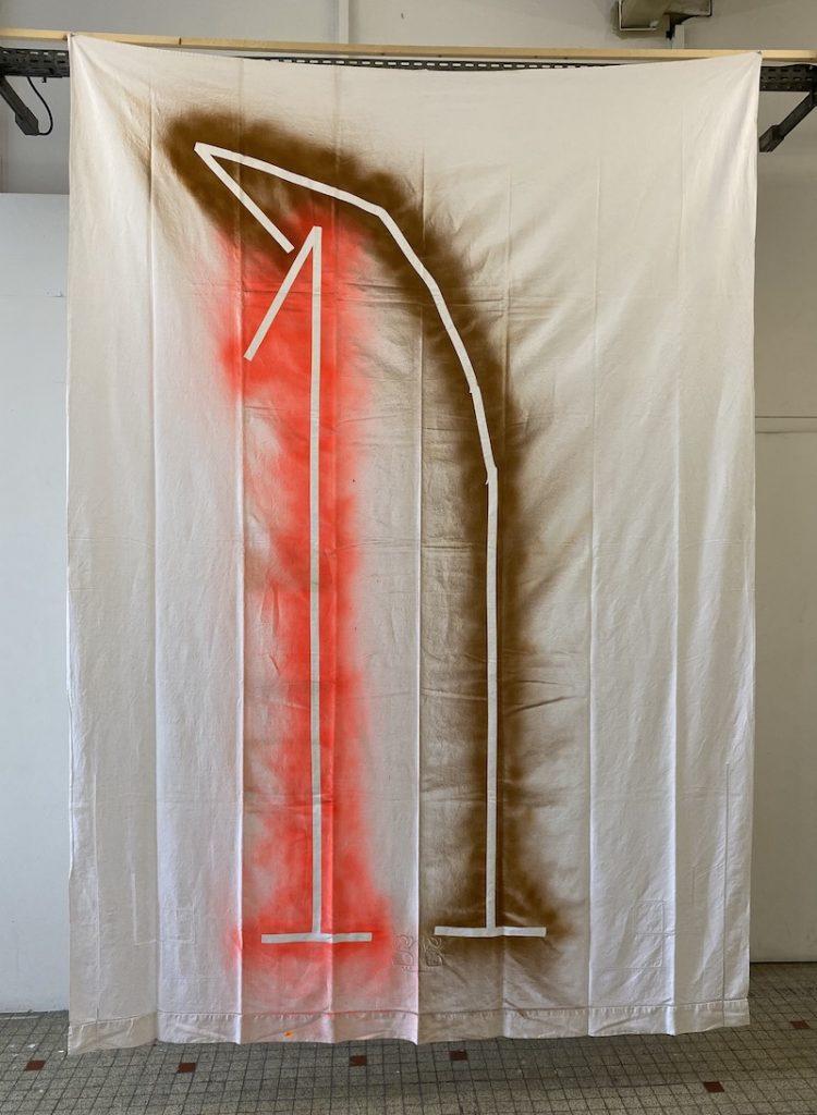 Michel Dector, S.G., 2021, peinture aérosol sur drap ancien 200 X 280 cm