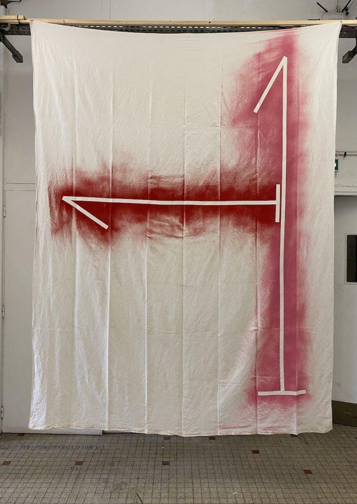 Michel Dector, Sans titre, 2021, peinture aérosol sur drap ancien 200 X 276 cm