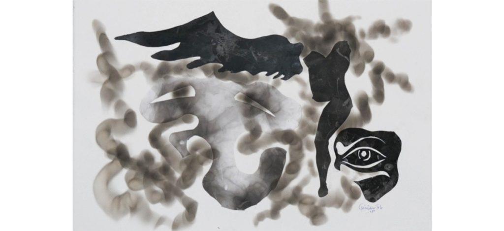 GeraIdine TOBE Esprit des ancêtres, 2019 Fumée sur papier et collage 57 x 38,3 cm