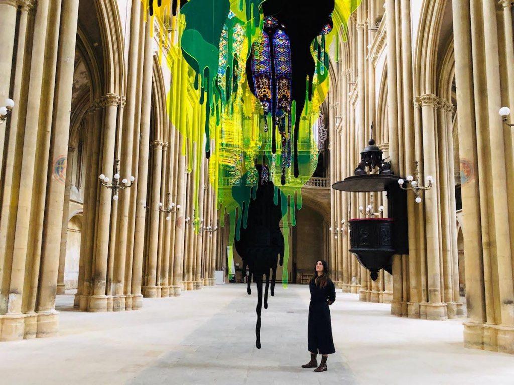 Paysage immatériel de Valentina Canseco, sculpture in situ, réalisée dans le cadre du Festival International d'Art Constellations de Metz, Basilique Saint-Vincent de Metz